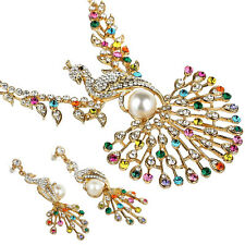 Janeo Cocktail Set Swarovski Elements Crystal Necklace Earrings Indian Peacock