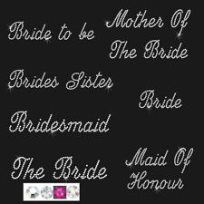 iron on bride wedding hen diamante transfer rhinestone bridesmaid flowergirl