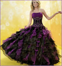 Black/purpEvening Bead organza Girls Formal Party Dresses Bridesmaid Prom Gowns