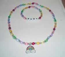 Personalised rainbow childrens bracelet & necklace set with rainbow charm & name