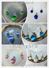 Beautiful Charming Dolphin Play Cat's eye Stone Pendant Earring Opal Jewelry Set