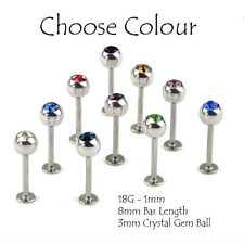 Labret Stud Bar Lip Monroe Tragus1.2mm 16G 3mm Crystal Gem Ball 8mm Length 316L