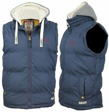 MENS WARM THICK PADDED NAVY HOODED GILET  BODYWARMER  HOODIE  (OPTIONAL HOOD)