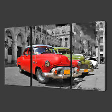 CUBAN CARS SET OF THREE QUALITY CANVAS PRINT PICTURE WALL ART FREE UK P&P
