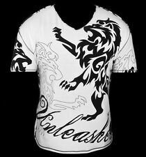 NEW & UNIQUE TEE STYLE T-SHIRT WHITE UNLEASHED.GREAT FOR WORKOUT OR CLUB WEAR !!