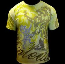NEW & UNIQUE TEE STYLE TSHIRT YELLOW UNLEASHED.GREAT FOR WORKOUT OR CLUB WEAR !!