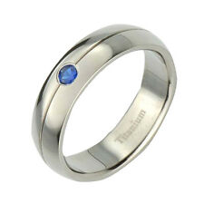 6mm Half Moon Top Titanium Band Round Syn Blue Sapphire Unisex Wedding Ring