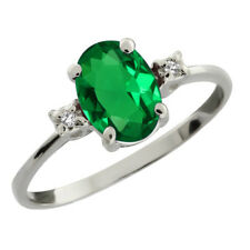 2.19 Ct Oval Green Simulated Emerald 925 Sterling Silver Ring