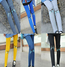 Women Girls Cute Fashion Embroidery Cat Leggings Stretch Tights Pants 7 Colors