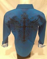 Victorious Cross Stone Button Down Dress Shirt Turquoise Roar W Excitement SH387