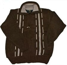 Heavy Weight Brown Chunky Knit Zip Front Pockets Chenille Warm Cardigan Jumper