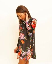 NEW BOUTIQUE GLAMOROUS BLACK FLORAL VELVET SWING DRESS WITH LONG SLEEVES