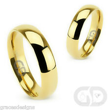 5mm Classic Wedding Engagement Band Yellow Gold Plated 316L Stainless Steel Ring