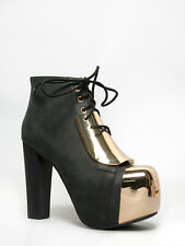 New JEFFREY CAMPBELL LITA PLATE Black Gold Leather Platform High Heel Lace Up