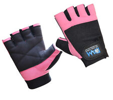 DAM WEIGHT LIFTING GYM GLOVES LEATHER PINK SLIM FITING WOMENS ONLY