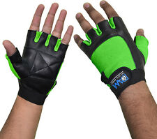DAM Leather Weight lifting Gym Gloves, Bodybuilding, Slim Fit UniSex Green S-XL