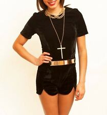 NEW BOUTIQUE BLACK BELTED PLAYSUIT 8 10 12