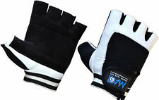 DAM WEIGHT LIFTING GYM GLOVES BODY BUILDING WORKOUT COWHIDE LEATHER NEW WHITE