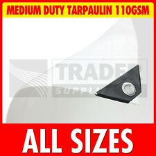 White Medium Duty Poly Tarpaulin Market Stall Cover Builders Tarp Ground Sheet