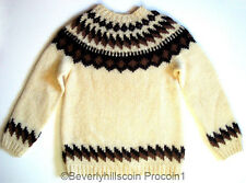 Mens Handmade Scotland Pullover Crewneck Sweater White Shetland Wool