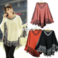 Batwing Sleeve Tassels Hem Style Cloak Poncho Cape Tops Knitting Sweater Shawl