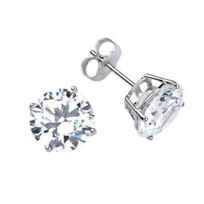 14kt Solid White Gold SuperBright Clear CZ Stud Earrings Basket Setting Round