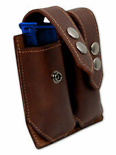 NEW Barsony Brown Leather Dbl Mag Pouch for Browning Colt Mini/Pocket 22 25 380