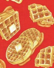 Waffles Breakfast Fabric Butter or Red Morning Restaurant Diner Benartex Cotton