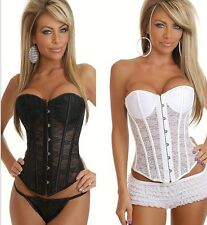 Sexy Ultra Thin Perspective Lace Corsets Bustier Body Shaper Black/White S~2XL