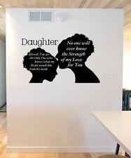 Mother to Daughter Poem Vinyl Wall Art Head Silhouettes 60cm x 1m - 10 Colours