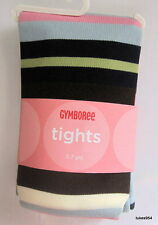 Gymboree Chelsea Girl Stripe Pink Blue Green Brown Tights 5-6-7-8-9 NWT New