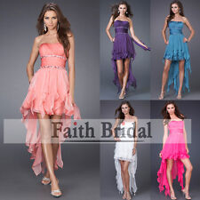 New 5 Colour High low Mini Bridesmaid dress prom party cocktail dress 6-16