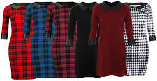 Womens Red Tartan Check Print PVCWet Collar Ladies Tunic Bodycon Top Dress 8-14