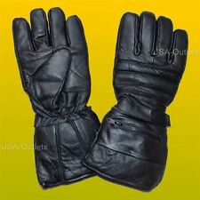REAL LEATHER WINTER DRIVING BIKER THINSULATE LINED GLOVES w/RAIN COVERS - UK1F