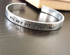 You are my sunshine - Personalized - Hand stamped Cuff Aluminum