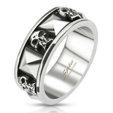 Skull and Pyramid Stainless Steel Mens Goth Biker Ring Sizes 9-13 available