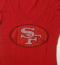 San Francisco 49ers Rhinestones Red V-Neck Shirt Niners Bling Bedazzled