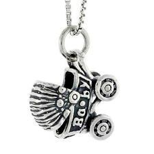 """Sterling Silver BABY CARRIAGE STROLLER Pendant / Charm, 18"""" Italian Box Chain"""