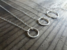 925 Sterling Silver Hammered Eternity Circle Charm Pendant Necklace Handmade