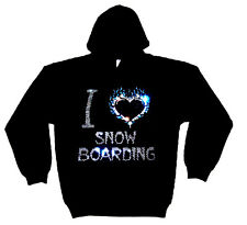 I LOVE SNOW BOARDING HEAVYWEIGHT CRYSTAL DESIGN HOODY  HOODIES (any size)