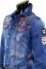 Herren Mens Jeansjacke Biker Kay Leder Ärmel Pu Leather Sleeve One Jacket Jacke