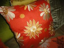PIER 1 IMPORTS SQUARE PILLOW COVER EMBROIDERED FLORAL ORANGE GOLD 17.5 X 17.5