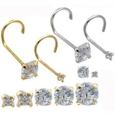 14k Gold Hook Nose Rings With CZ Stud Prong