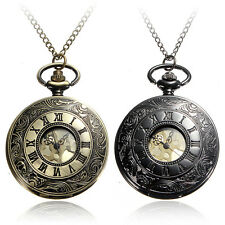 Vintage Black Bronze Roman Numerals Steampunk Quartz Necklace Chain Pocket Watch
