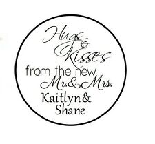 108 - 324 - 648 PERSONALIZED Wedding Candy Kiss Favor Labels Hugs Kisses MrMrs