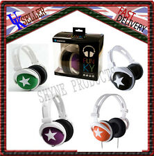 NEW STAR PATTERN CHILDRENS KIDS BOYS GIRLS OVERHEAD DJ HEADPHONES HEADSETS