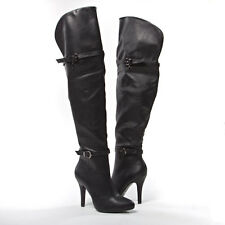 Women PU Leather Buckle Strap Over the Knee Thigh High Stiletto Heel Boot US5-11