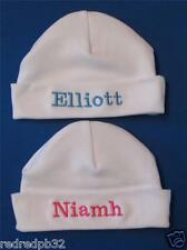 PERSONALISED BABY HAT PINK/BLUE/WHITE EMBROIDERED NAME NEW BABY GIFT HOSPITAL