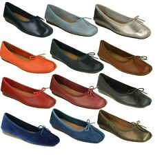 £44.99 LADIES CLARKS LEATHER BOW SLIP ON PUMPS BALLERINA FLAT SHOES FRECKLE ICE