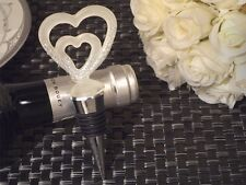 Frosted White Murano Two Hearts Become One Wine Bottle Stopper Wedding Favor